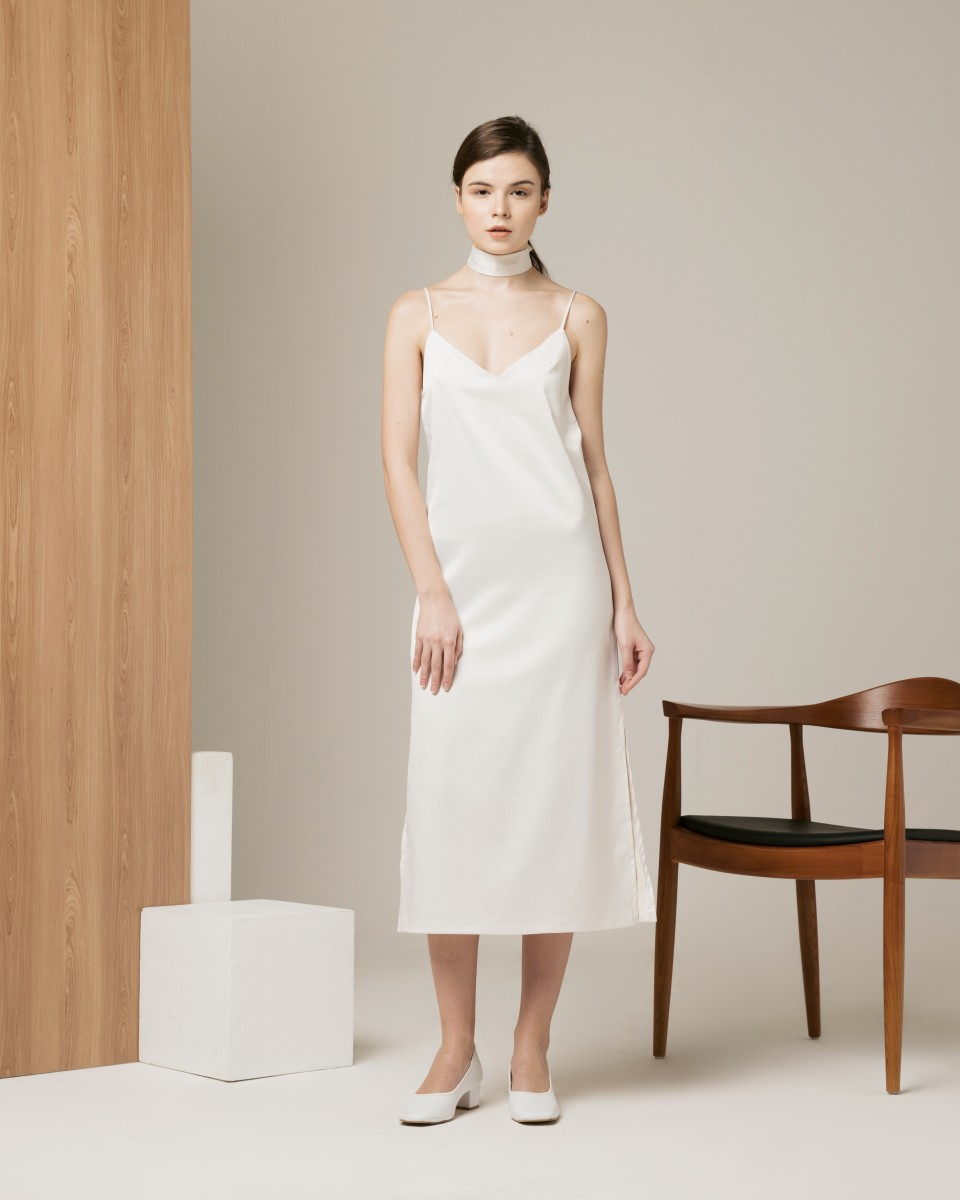 MIDNIGHT SLIP DRESS WHITE
