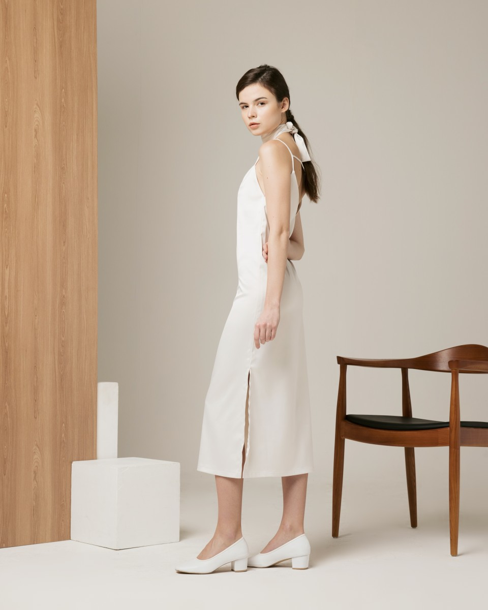 MIDNIGHT SLIP DRESS WHITE