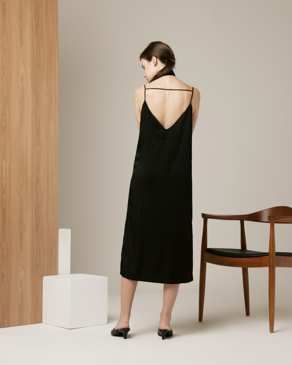 MIDNIGHT SLIP DRESS BLACK