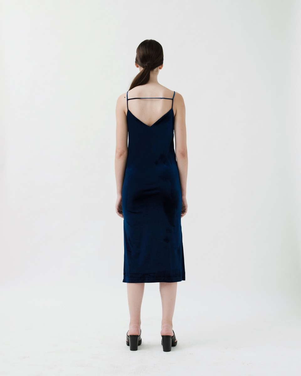 MIDNIGHT SLIP DRESS BLUE